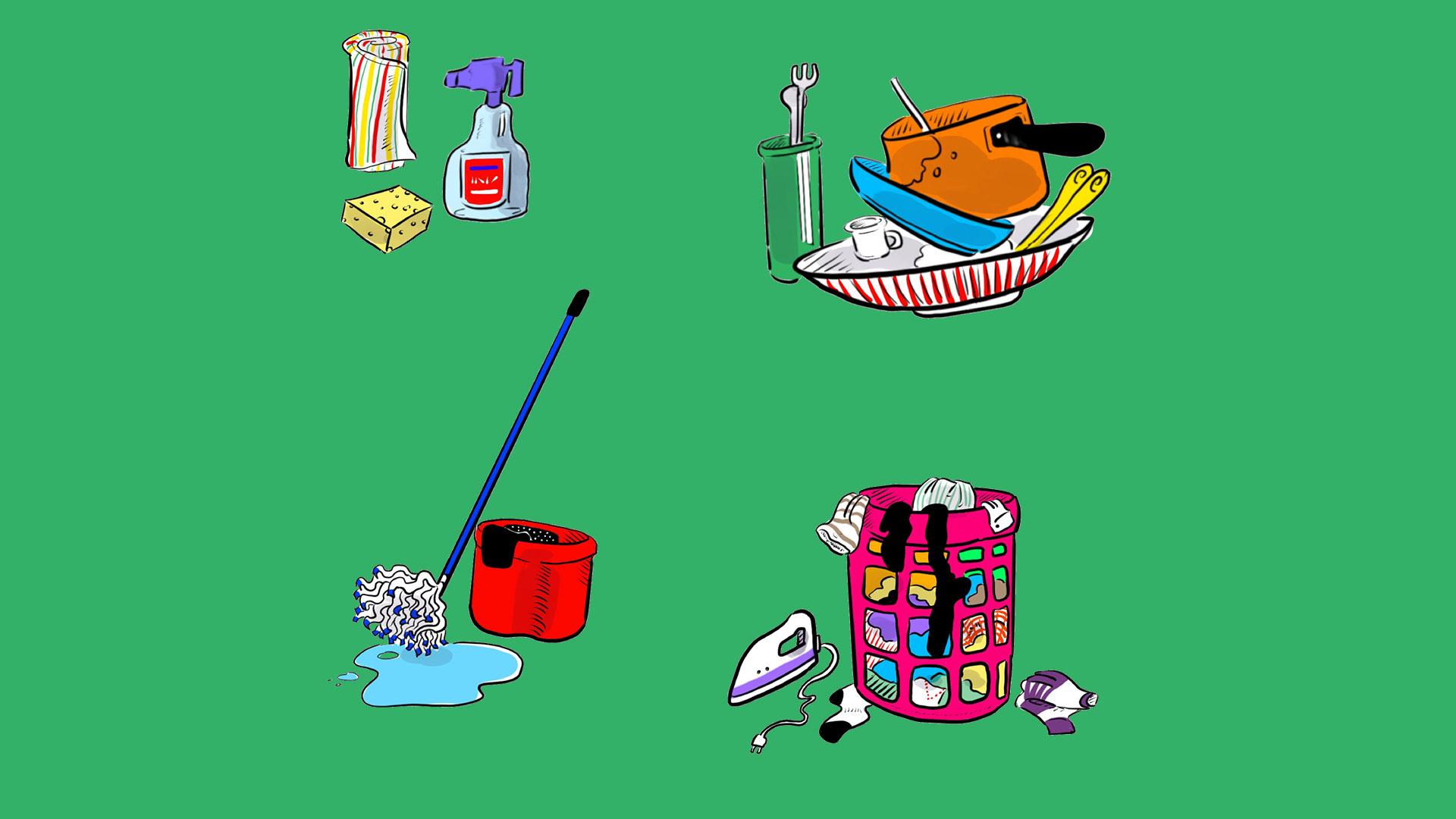 Poubelle, ménage, linge, enfants.. Qui fait quoi?