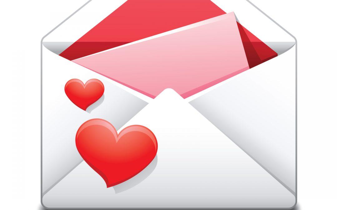 enveloppe avec lettre d'amour
