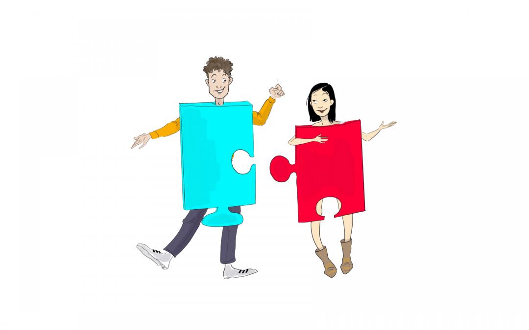 couple en morceaux de puzzle